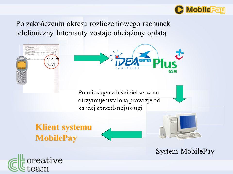 Po zakończeniu okresu rozliczeniowego rachunek telefoniczny Internauty zostaje obciążony opłatą 9 zł + VAT System MobilePay Po miesiącu właściciel serwisu otrzymuje ustaloną prowizję od każdej sprzedanej usługi Klient systemu MobilePay