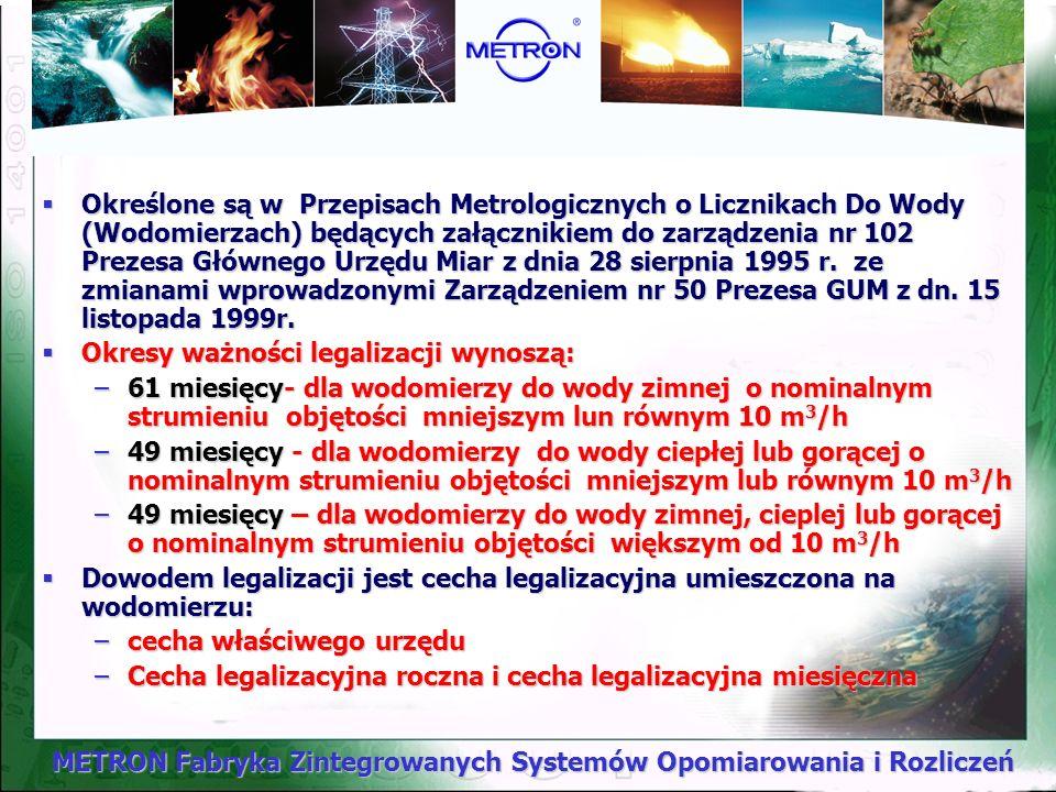 METRON Fabryka Zintegrowanych Systemów Opomiarowania i Rozliczeń Przyrządy pomiarowe Okresy ważności legalizacji WODOMIERZE