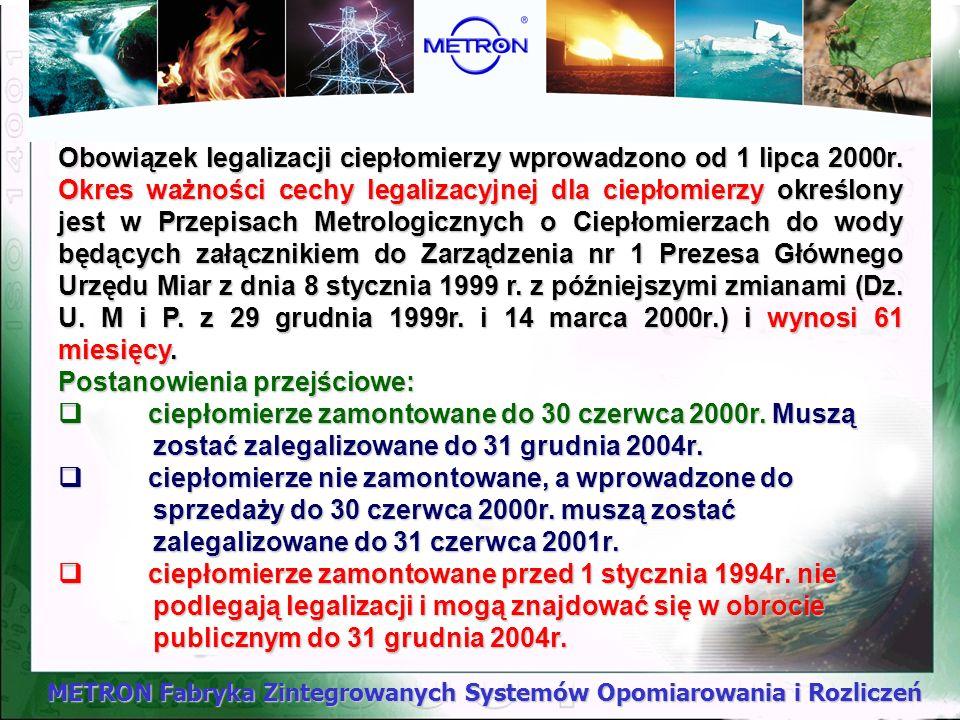 METRON Fabryka Zintegrowanych Systemów Opomiarowania i Rozliczeń Przyrządy pomiarowe Okresy ważności legalizacji CIEPŁOMIERZE