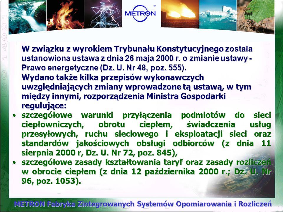 METRON Fabryka Zintegrowanych Systemów Opomiarowania i Rozliczeń Trybunał Konstytucyjny wyrokiem z dnia 26 października 1999 r. sygn. Akt K.12/99 (Dz.