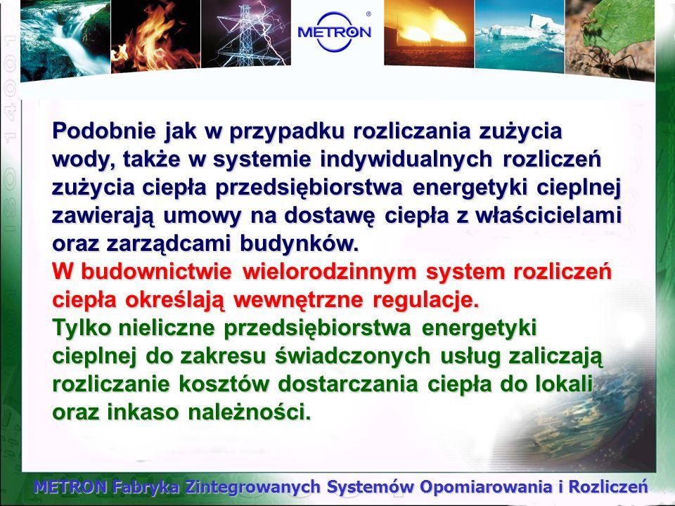 METRON Fabryka Zintegrowanych Systemów Opomiarowania i Rozliczeń Przepisy powyższych rozporządzeń, określają między innymi, zasady zawierania umów pom