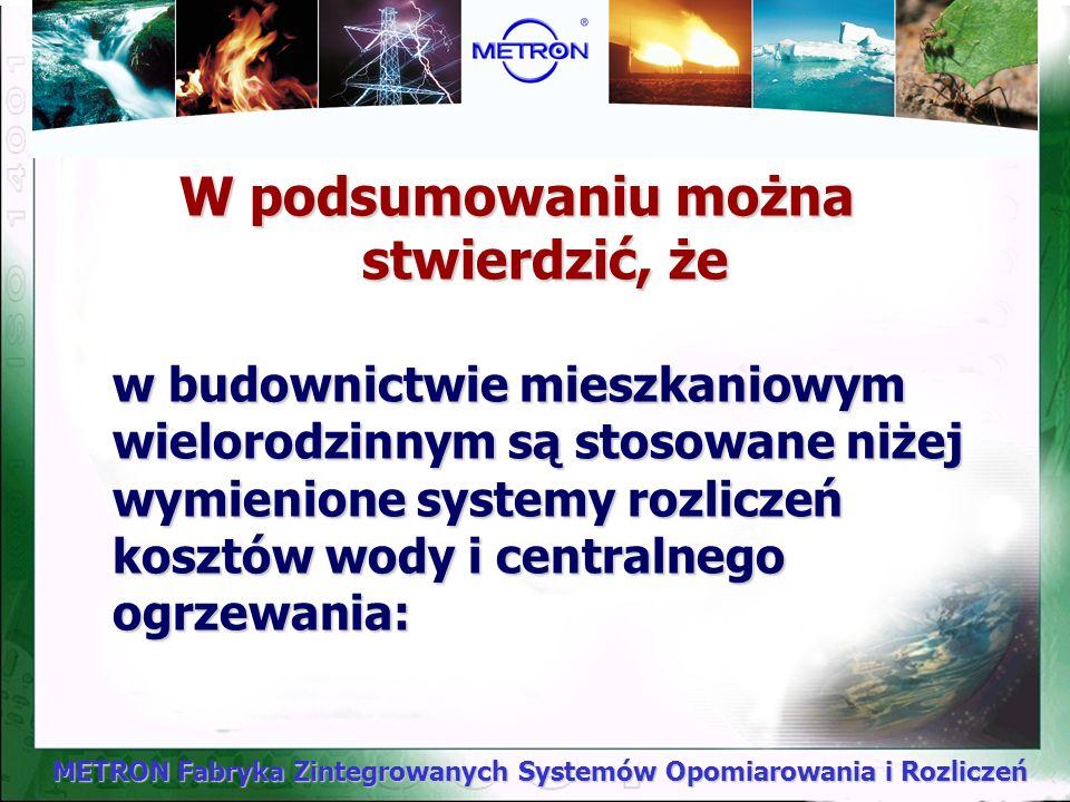 METRON Fabryka Zintegrowanych Systemów Opomiarowania i Rozliczeń PODSUMOWANIE I WNIOSKI