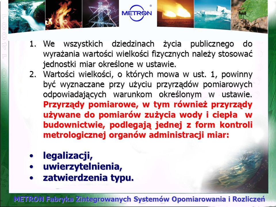 METRON Fabryka Zintegrowanych Systemów Opomiarowania i Rozliczeń Obowiązek legalizacji ciepłomierzy wprowadzono od 1 lipca 2000r.