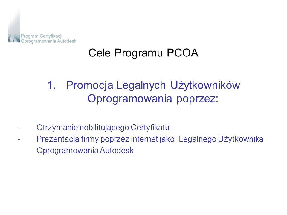 Cele Programu PCOA 1.Promocja Legalnych Użytkowników Oprogramowania poprzez: -Otrzymanie nobilitującego Certyfikatu -Prezentacja firmy poprzez internet jako Legalnego Użytkownika Oprogramowania Autodesk
