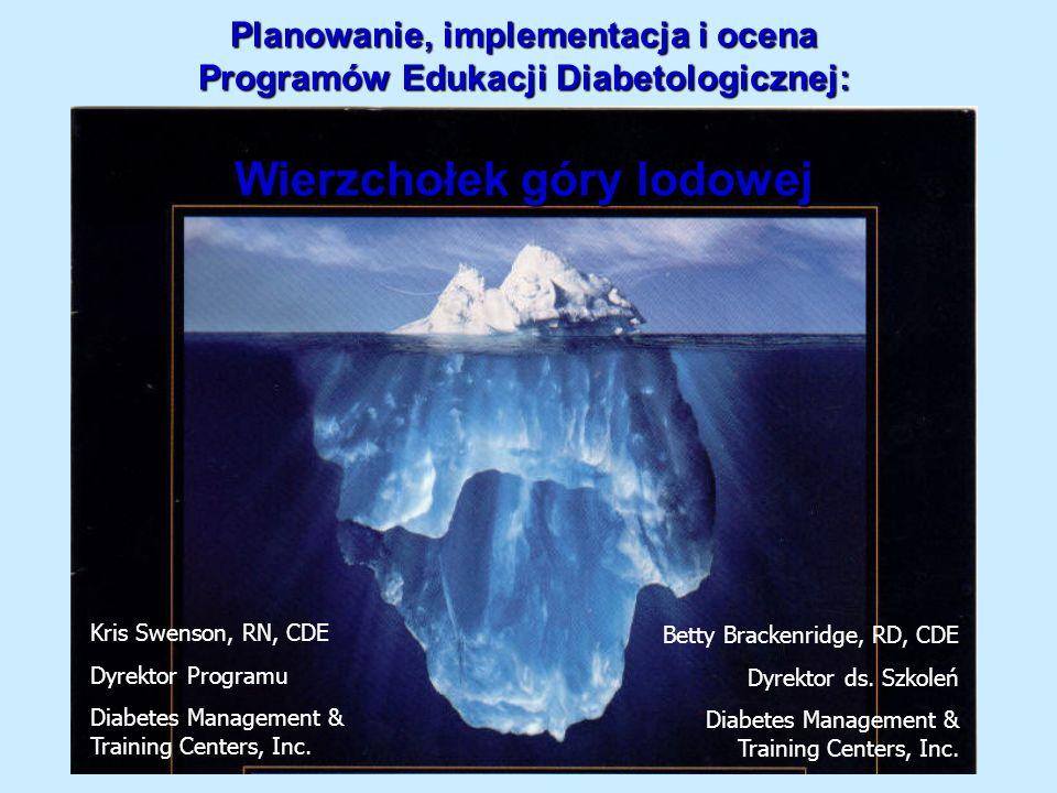 Planowanie, implementacja i ocena Programów Edukacji Diabetologicznej: Wierzchołek góry lodowej Kris Swenson, RN, CDE Dyrektor Programu Diabetes Manag
