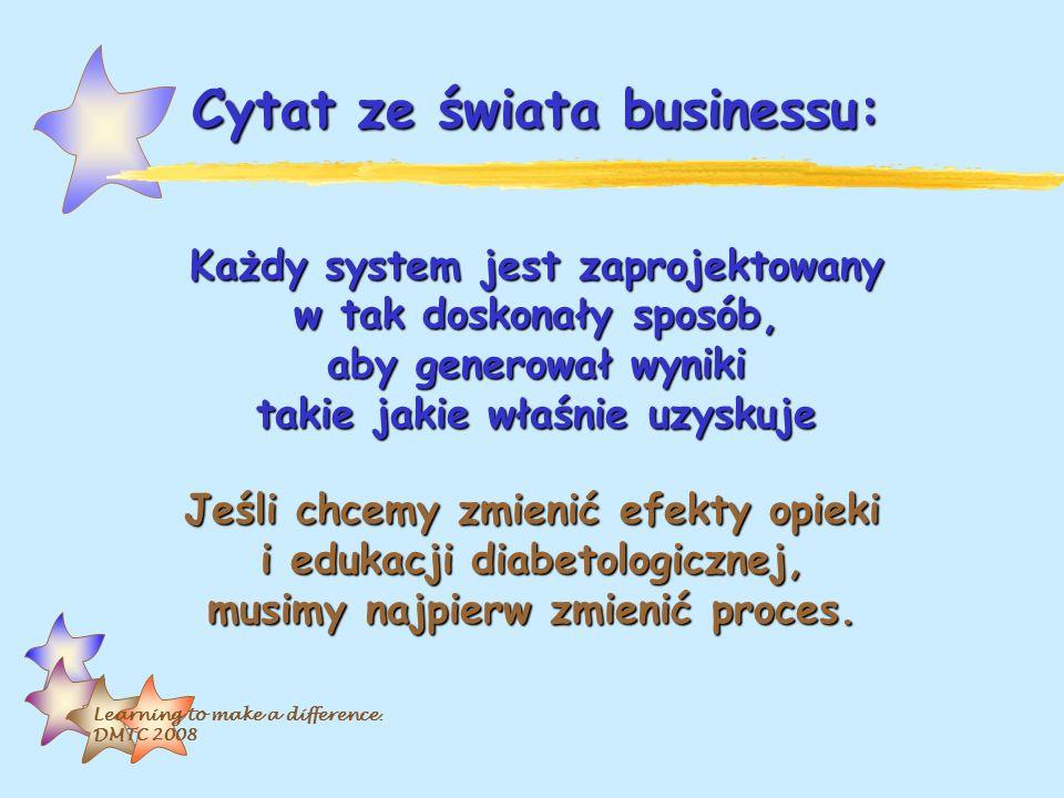 Learning to make a difference. DMTC 2008 Cytat ze świata businessu: Każdy system jest zaprojektowany w tak doskonały sposób, aby generował wyniki taki