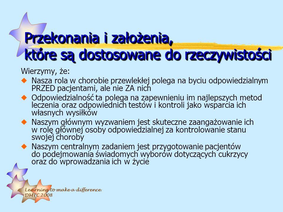 Learning to make a difference. DMTC 2008 Przekonania i założenia, które są dostosowane do rzeczywistości Wierzymy, że: uNasza rola w chorobie przewlek