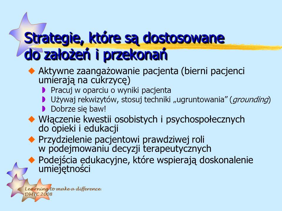 Learning to make a difference. DMTC 2008 Strategie, które są dostosowane do założeń i przekonań uAktywne zaangażowanie pacjenta (bierni pacjenci umier