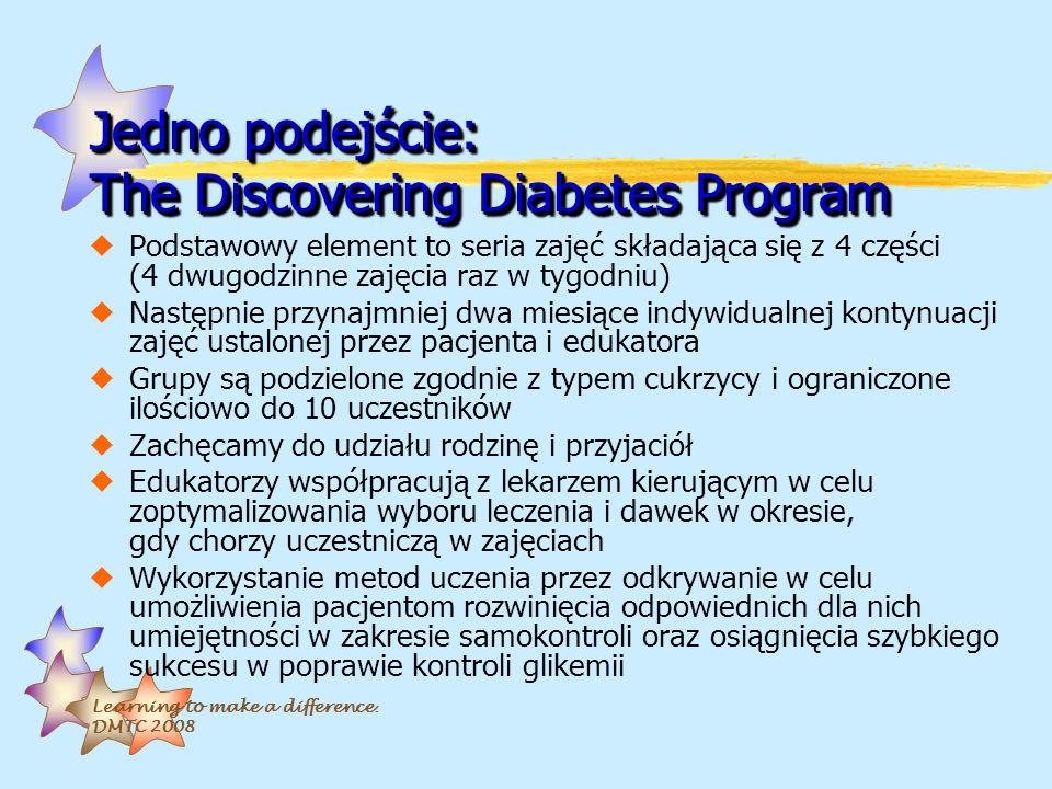 Learning to make a difference. DMTC 2008 Jedno podejście: The Discovering Diabetes Program uPodstawowy element to seria zajęć składająca się z 4 częśc