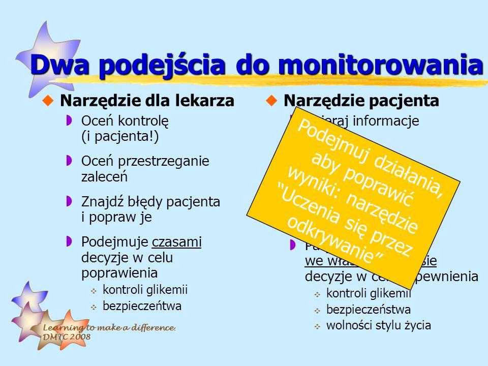 Learning to make a difference. DMTC 2008 Dwa podejścia do monitorowania uNarzędzie dla lekarza wOceń kontrolę (i pacjenta!) wOceń przestrzeganie zalec