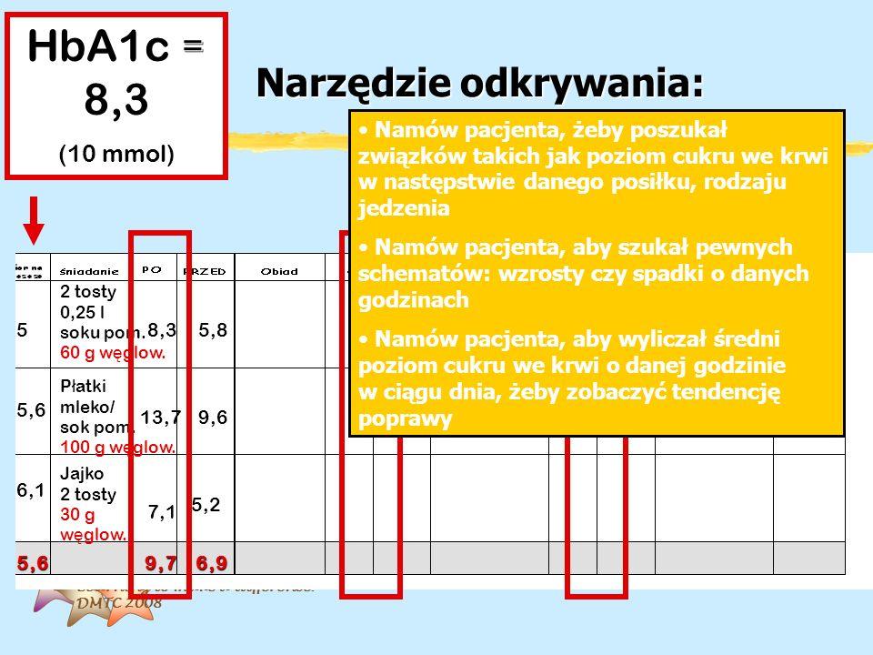 Learning to make a difference. DMTC 2008 Narzędzie odkrywania: HbA1c = 8,3 (10 mmol) 2 tosty 0,25 l soku pom. 60 g w ę glow. P ł atki mleko/ sok pom.