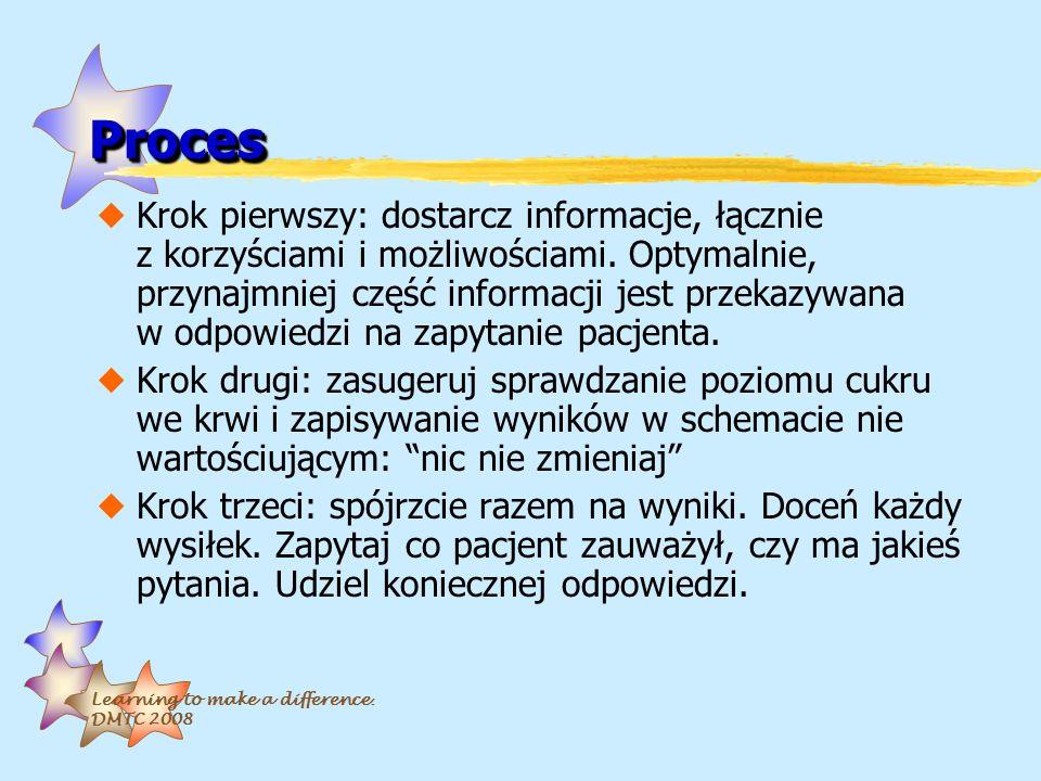 Learning to make a difference. DMTC 2008 ProcesProces uKrok pierwszy: dostarcz informacje, łącznie z korzyściami i możliwościami. Optymalnie, przynajm