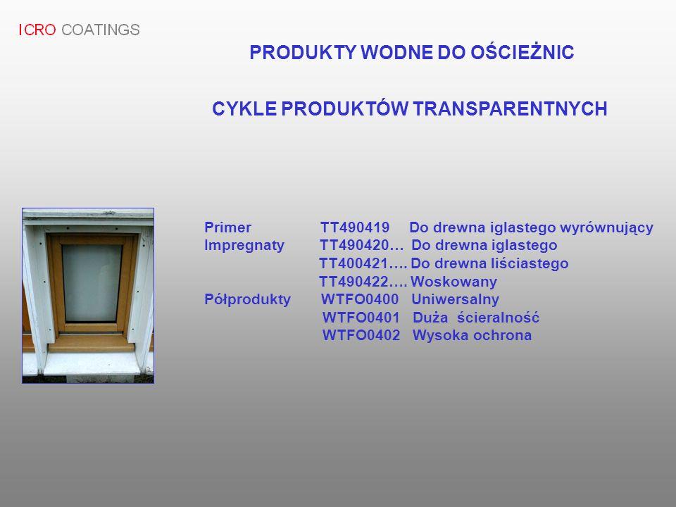CYKLE PRODUKTÓW TRANSPARENTNYCH Primer TT490419 Do drewna iglastego wyrównujący Impregnaty TT490420… Do drewna iglastego TT400421…. Do drewna liściast