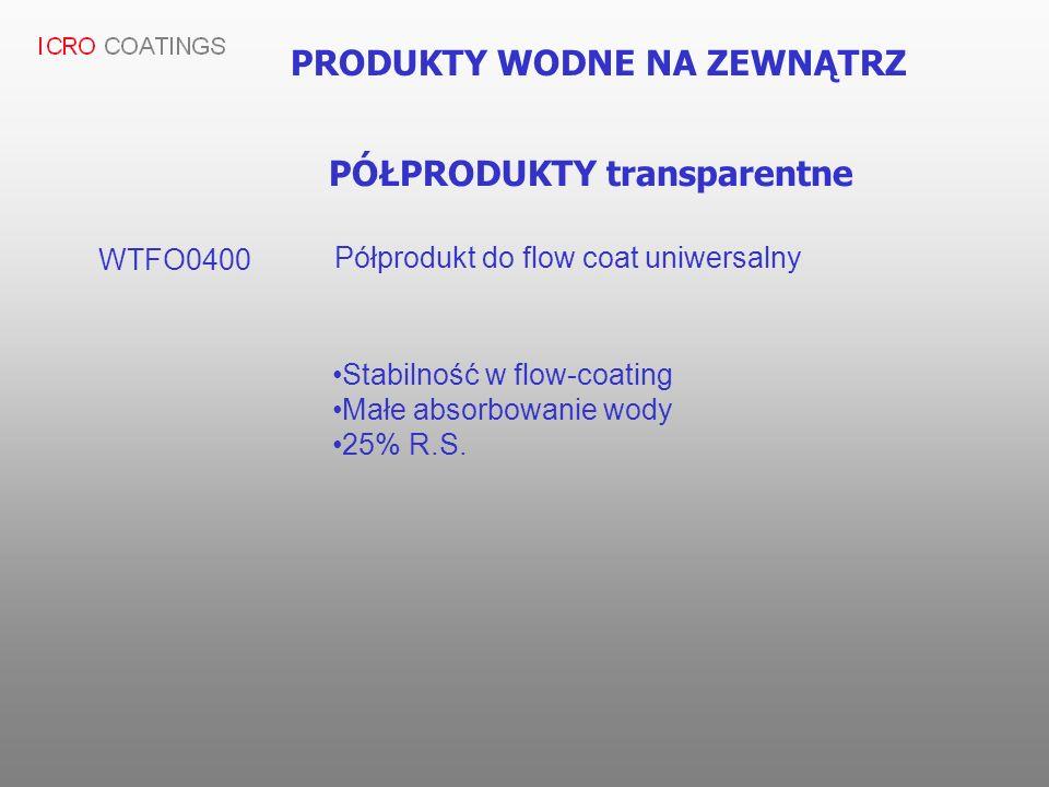 PRODUKTY WODNE NA ZEWNĄTRZ PÓŁPRODUKTY transparentne WTFO0400 Półprodukt do flow coat uniwersalny Stabilność w flow-coating Małe absorbowanie wody 25%