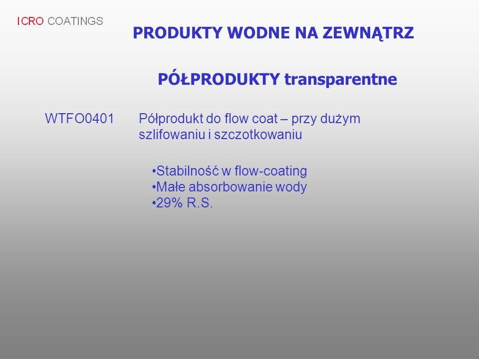 PRODUKTY WODNE NA ZEWNĄTRZ WTFO0401 Półprodukt do flow coat – przy dużym szlifowaniu i szczotkowaniu Stabilność w flow-coating Małe absorbowanie wody