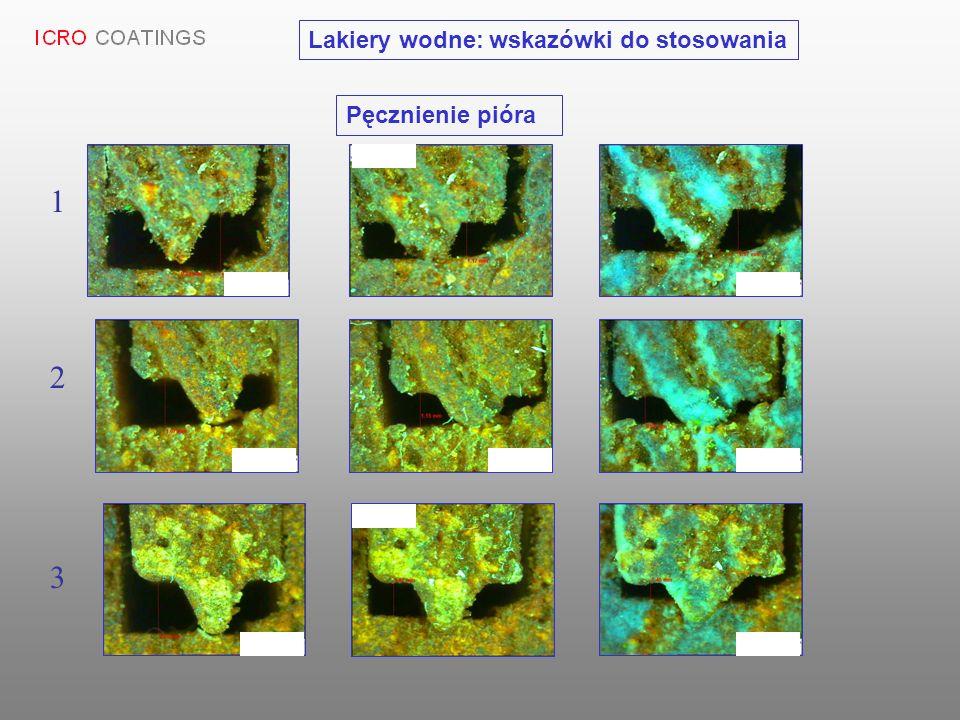 3 2 1 Pęcznienie pióra Lakiery wodne: wskazówki do stosowania