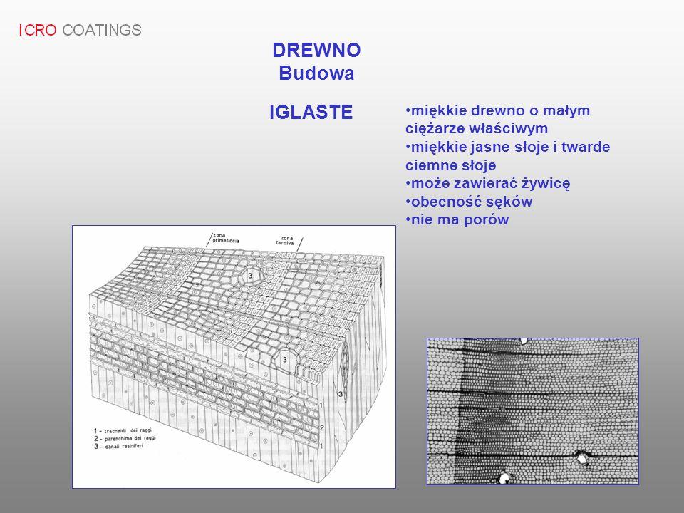 DREWNO Budowa IGLASTE miękkie drewno o małym ciężarze właściwym miękkie jasne słoje i twarde ciemne słoje może zawierać żywicę obecność sęków nie ma p