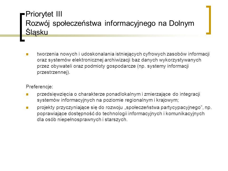 Priorytet III Rozwój społeczeństwa informacyjnego na Dolnym Śląsku tworzenia nowych i udoskonalania istniejących cyfrowych zasobów informacji oraz systemów elektronicznej archiwizacji baz danych wykorzystywanych przez obywateli oraz podmioty gospodarcze (np.