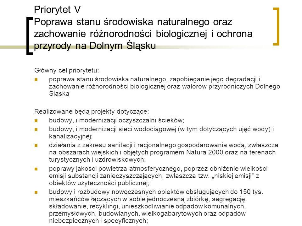 Priorytet V Poprawa stanu środowiska naturalnego oraz zachowanie różnorodności biologicznej i ochrona przyrody na Dolnym Śląsku Główny cel priorytetu: poprawa stanu środowiska naturalnego, zapobieganie jego degradacji i zachowanie różnorodności biologicznej oraz walorów przyrodniczych Dolnego Śląska Realizowane będą projekty dotyczące: budowy, i modernizacji oczyszczalni ścieków; budowy, i modernizacji sieci wodociągowej (w tym dotyczących ujęć wody) i kanalizacyjnej; działania z zakresu sanitacji i racjonalnego gospodarowania wodą, zwłaszcza na obszarach wiejskich i objętych programem Natura 2000 oraz na terenach turystycznych i uzdrowiskowych; poprawy jakości powietrza atmosferycznego, poprzez obniżenie wielkości emisji substancji zanieczyszczających, zwłaszcza tzw.