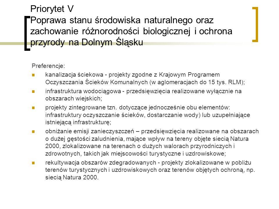 Priorytet V Poprawa stanu środowiska naturalnego oraz zachowanie różnorodności biologicznej i ochrona przyrody na Dolnym Śląsku Preferencje: kanalizacja ściekowa - projekty zgodne z Krajowym Programem Oczyszczania Ścieków Komunalnych (w aglomeracjach do 15 tys.