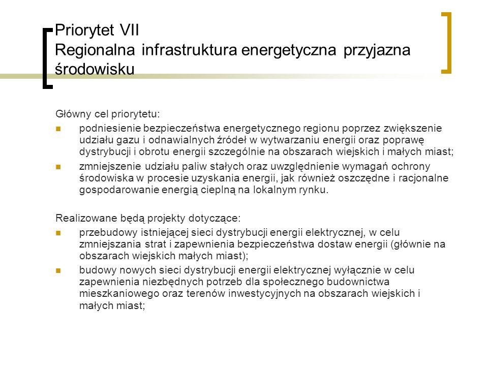 Priorytet VII Regionalna infrastruktura energetyczna przyjazna środowisku Główny cel priorytetu: podniesienie bezpieczeństwa energetycznego regionu poprzez zwiększenie udziału gazu i odnawialnych źródeł w wytwarzaniu energii oraz poprawę dystrybucji i obrotu energii szczególnie na obszarach wiejskich i małych miast; zmniejszenie udziału paliw stałych oraz uwzględnienie wymagań ochrony środowiska w procesie uzyskania energii, jak również oszczędne i racjonalne gospodarowanie energią cieplną na lokalnym rynku.