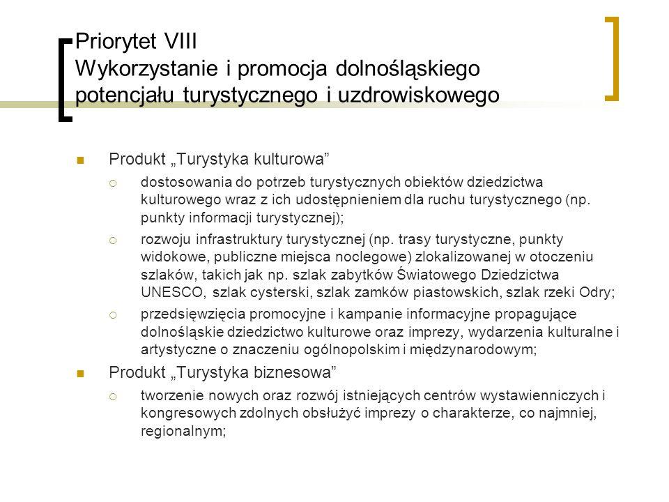 Priorytet VIII Wykorzystanie i promocja dolnośląskiego potencjału turystycznego i uzdrowiskowego Produkt Turystyka kulturowa dostosowania do potrzeb turystycznych obiektów dziedzictwa kulturowego wraz z ich udostępnieniem dla ruchu turystycznego (np.