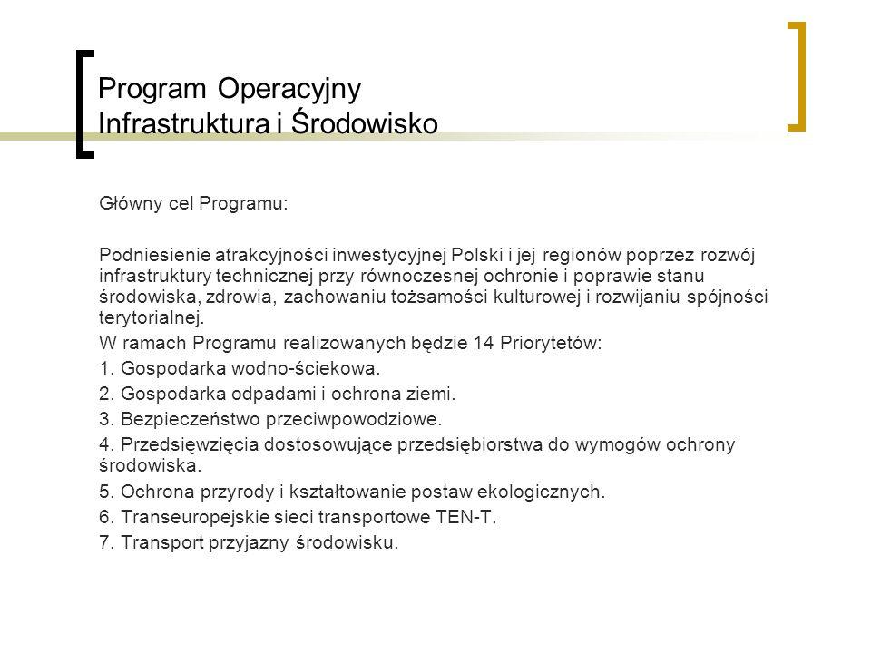 Program Operacyjny Infrastruktura i Środowisko Główny cel Programu: Podniesienie atrakcyjności inwestycyjnej Polski i jej regionów poprzez rozwój infrastruktury technicznej przy równoczesnej ochronie i poprawie stanu środowiska, zdrowia, zachowaniu tożsamości kulturowej i rozwijaniu spójności terytorialnej.