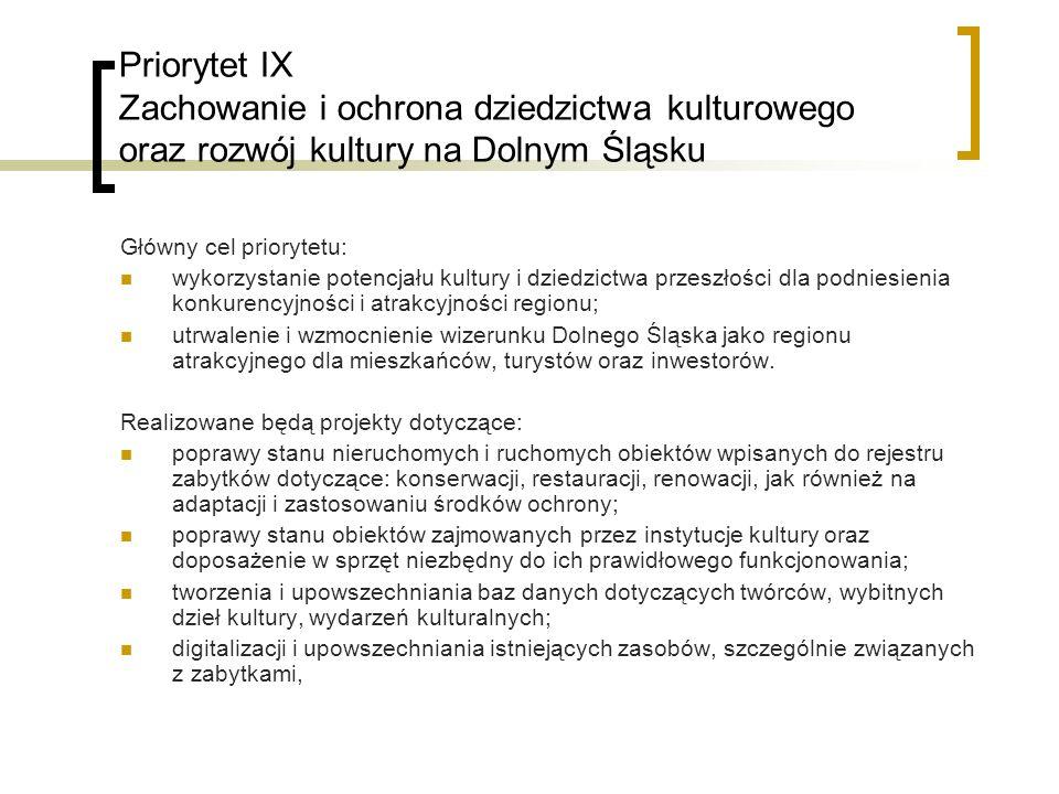 Priorytet IX Zachowanie i ochrona dziedzictwa kulturowego oraz rozwój kultury na Dolnym Śląsku Główny cel priorytetu: wykorzystanie potencjału kultury i dziedzictwa przeszłości dla podniesienia konkurencyjności i atrakcyjności regionu; utrwalenie i wzmocnienie wizerunku Dolnego Śląska jako regionu atrakcyjnego dla mieszkańców, turystów oraz inwestorów.