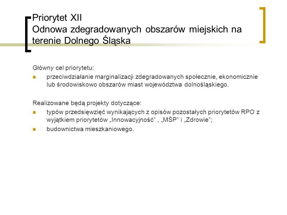 Priorytet XII Odnowa zdegradowanych obszarów miejskich na terenie Dolnego Śląska Główny cel priorytetu: przeciwdziałanie marginalizacji zdegradowanych społecznie, ekonomicznie lub środowiskowo obszarów miast województwa dolnośląskiego.