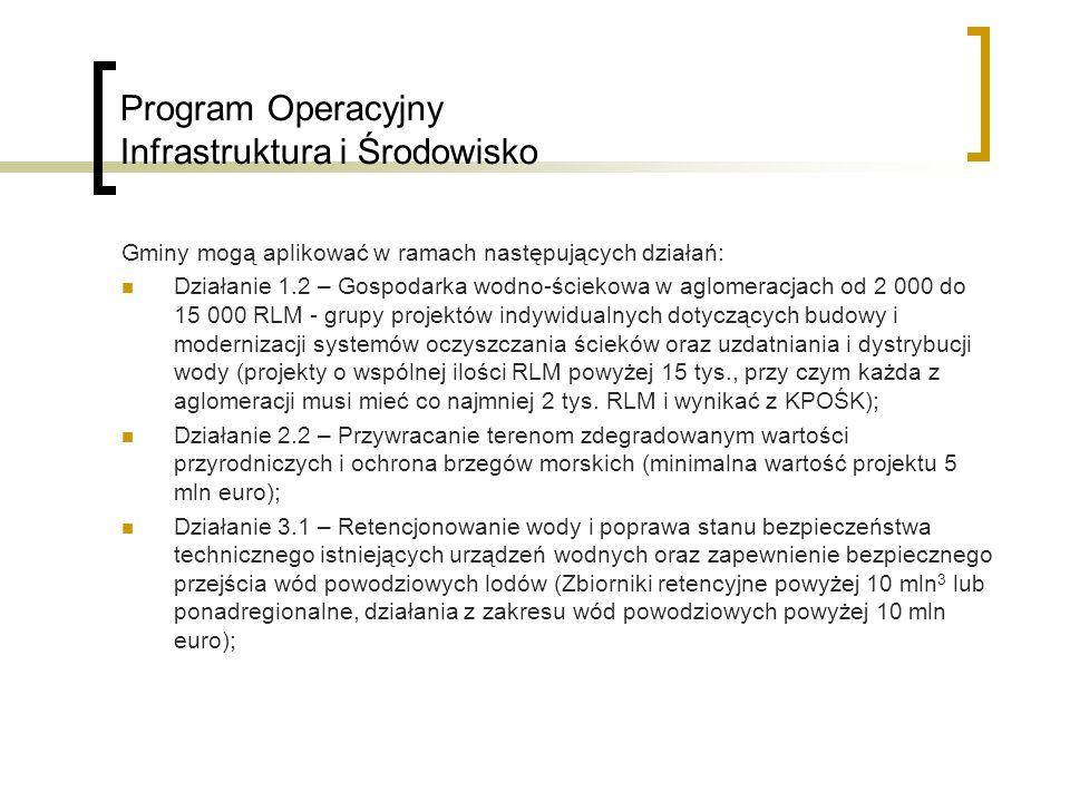 Program Operacyjny Infrastruktura i Środowisko Działanie 5.1 - Wspieranie kompleksowych projektów z zakresu ochrony siedlisk przyrodniczych (ekosystemów) na obszarach chronionych oraz zachowanie różnorodności gatunkowej (minimalna wartość projektu 100 000 euro); Działanie 5.2 – Zwiększenie drożności korytarzy ekologicznych (minimalna wartość projektu 0,5 mln euro); Działanie 5.4 – Kształtowanie postaw społecznych sprzyjających ochronie środowiska, w tym różnorodności biologicznej (minimalna wartość projektu to 0,5 mln euro dla kampanii promocyjno – informacyjnych oraz imprez masowych, dla pozostałych - 0,1 mln euro); Działanie 10.1 - Zwiększenie stopnia wykorzystania energii pierwotnej w sektorze energetycznym i obniżenie energochłonności sektora publicznego (minimalna wartość projektu 5 mln euro); Działanie 10.2 – Zwiększenie wytwarzania energii ze źródeł odnawialnych, w tym biopaliw (minimalna wartość projektu 5 mln euro);