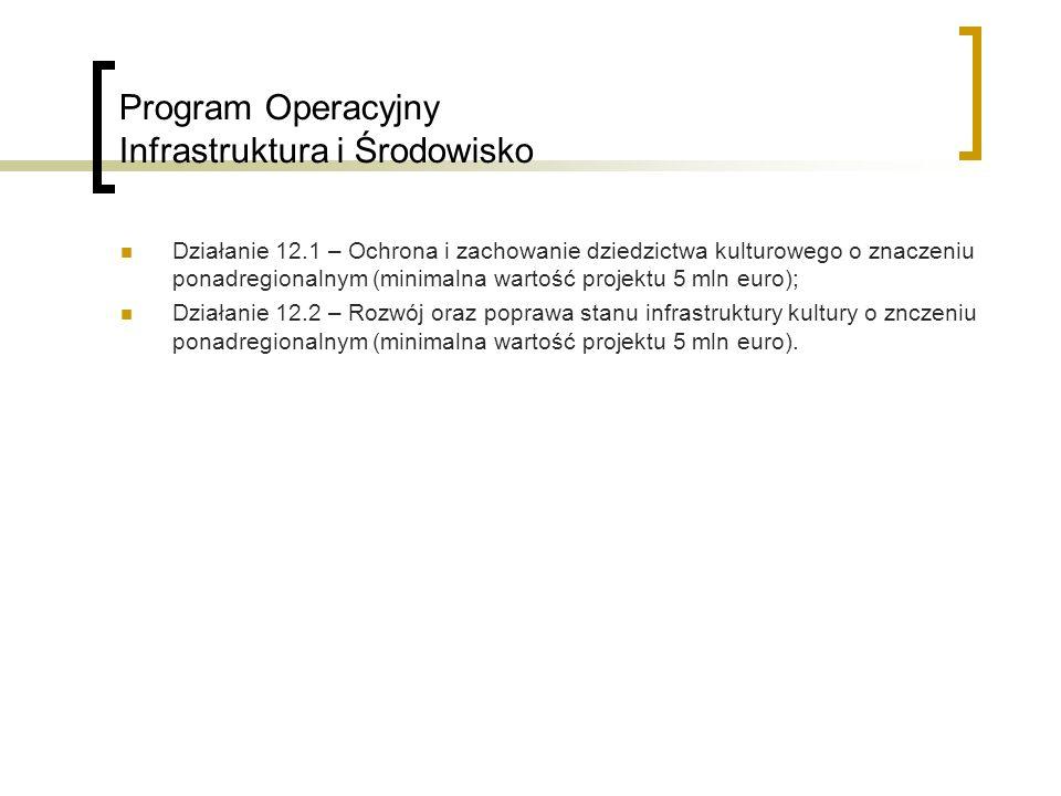 Program Operacyjny Infrastruktura i Środowisko Działanie 12.1 – Ochrona i zachowanie dziedzictwa kulturowego o znaczeniu ponadregionalnym (minimalna wartość projektu 5 mln euro); Działanie 12.2 – Rozwój oraz poprawa stanu infrastruktury kultury o znczeniu ponadregionalnym (minimalna wartość projektu 5 mln euro).