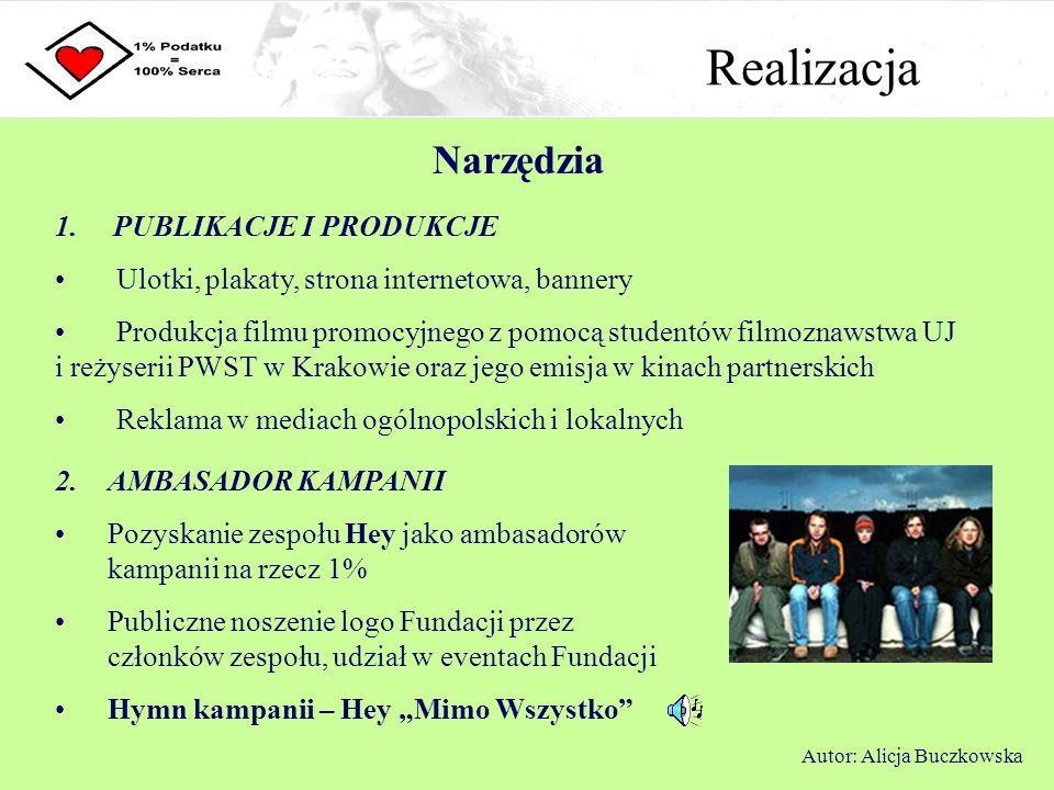 Realizacja Narzędzia Autor: Alicja Buczkowska 2. AMBASADOR KAMPANII Pozyskanie zespołu Hey jako ambasadorów kampanii na rzecz 1% Publiczne noszenie lo