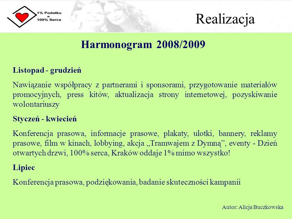 Realizacja Harmonogram 2008/2009 Autor: Alicja Buczkowska Listopad - grudzień Nawiązanie współpracy z partnerami i sponsorami, przygotowanie materiałó
