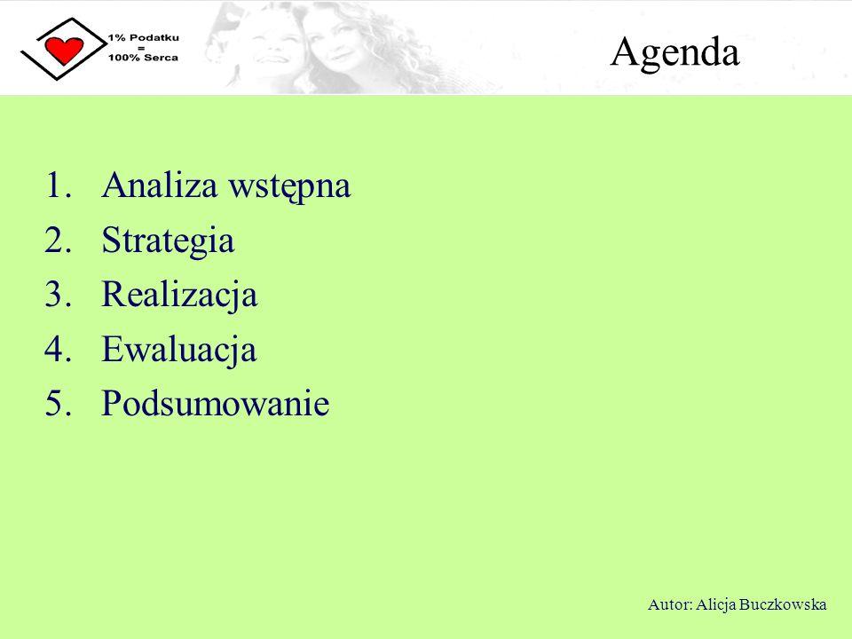 Analiza wstępna Niska świadomość społeczna na temat możliwości przekazania 1% podatku na OPP oraz zmian w prawie upraszczających system Brak zaufania do organizacji pozarządowych Bierność społeczna Autor: Alicja Buczkowska Analiza problemu 40% Polaków nie słyszało o możliwości przekazania 1% podatku na rzecz organizacji pożytku publicznego, ale świadomość ta z roku na rok wzrasta W 2007 roku z możliwości przekazania 1% podatku skorzystało jedynie 6,7% ogółu osób fizycznych, ale wskaźnik ten stale rośnie
