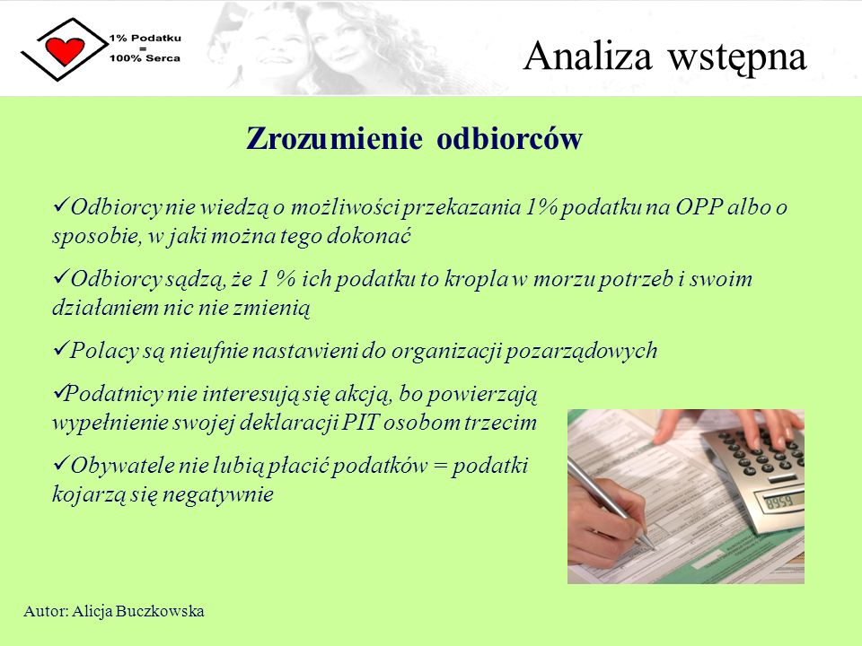 Analiza wstępna Zrozumienie odbiorców Autor: Alicja Buczkowska Odbiorcy nie wiedzą o możliwości przekazania 1% podatku na OPP albo o sposobie, w jaki