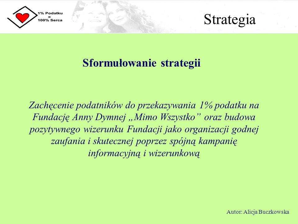 Strategia Sformułowanie strategii Zachęcenie podatników do przekazywania 1% podatku na Fundację Anny Dymnej Mimo Wszystko oraz budowa pozytywnego wize