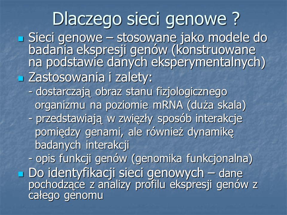Dlaczego sieci genowe ? Sieci genowe – stosowane jako modele do badania ekspresji genów (konstruowane na podstawie danych eksperymentalnych) Sieci gen