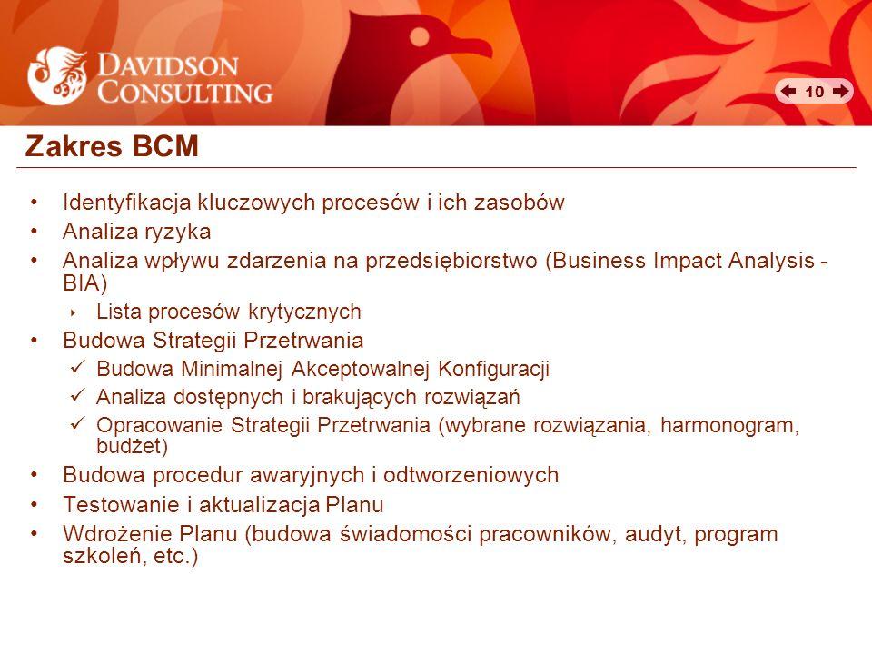 10 Zakres BCM Identyfikacja kluczowych procesów i ich zasobów Analiza ryzyka Analiza wpływu zdarzenia na przedsiębiorstwo (Business Impact Analysis -