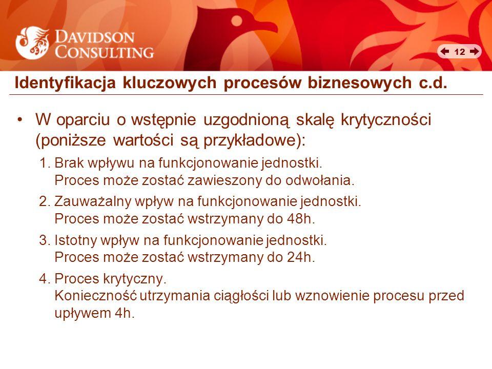 12 Identyfikacja kluczowych procesów biznesowych c.d. W oparciu o wstępnie uzgodnioną skalę krytyczności (poniższe wartości są przykładowe): 1.Brak wp
