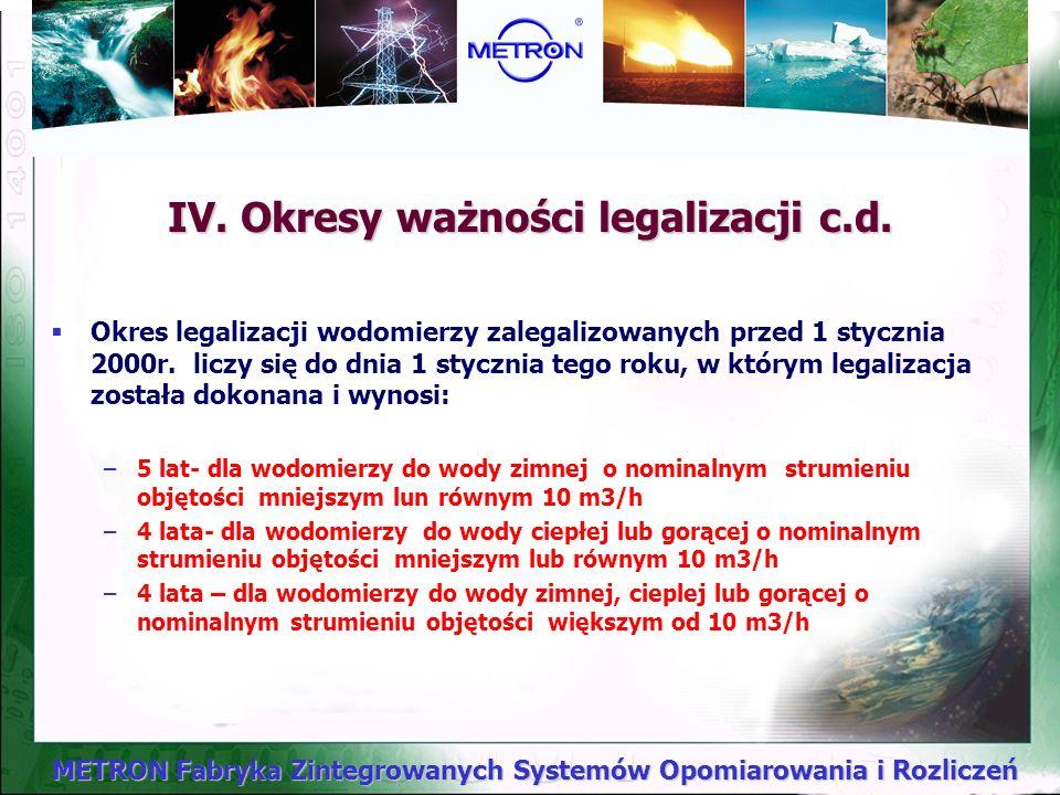 METRON Fabryka Zintegrowanych Systemów Opomiarowania i Rozliczeń IV. Okresy ważności legalizacji Określone są w Przepisach Metrologicznych o Licznikac
