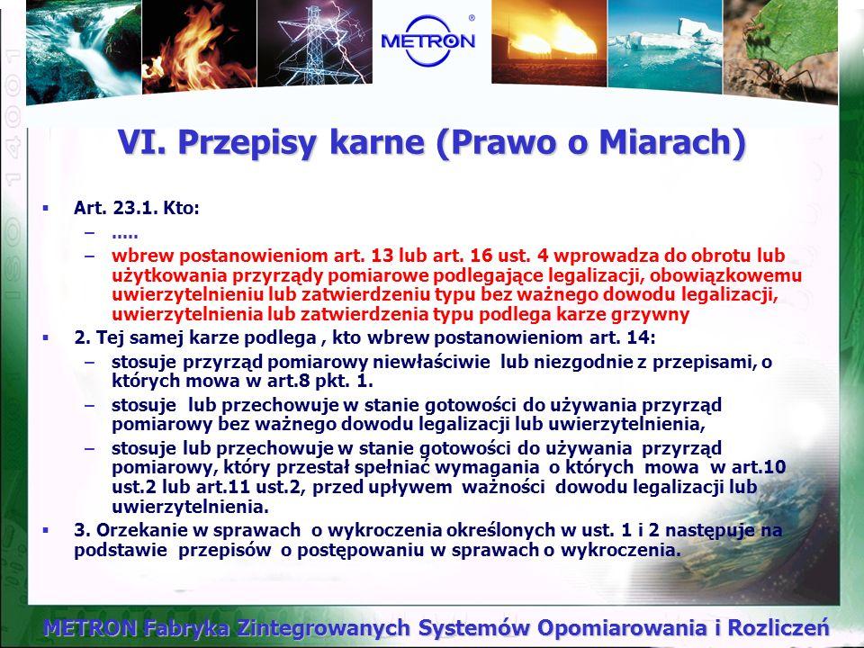METRON Fabryka Zintegrowanych Systemów Opomiarowania i Rozliczeń Art.21.1. Organy administracji miar są uprawnione do sprawowania nadzoru nad stosowan