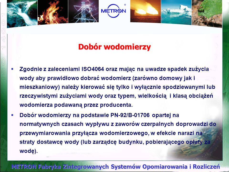 METRON Fabryka Zintegrowanych Systemów Opomiarowania i Rozliczeń Poprawność rozwiązań zaopatrzenia w wodę Realizacja techniczna instalacji wodociągowy