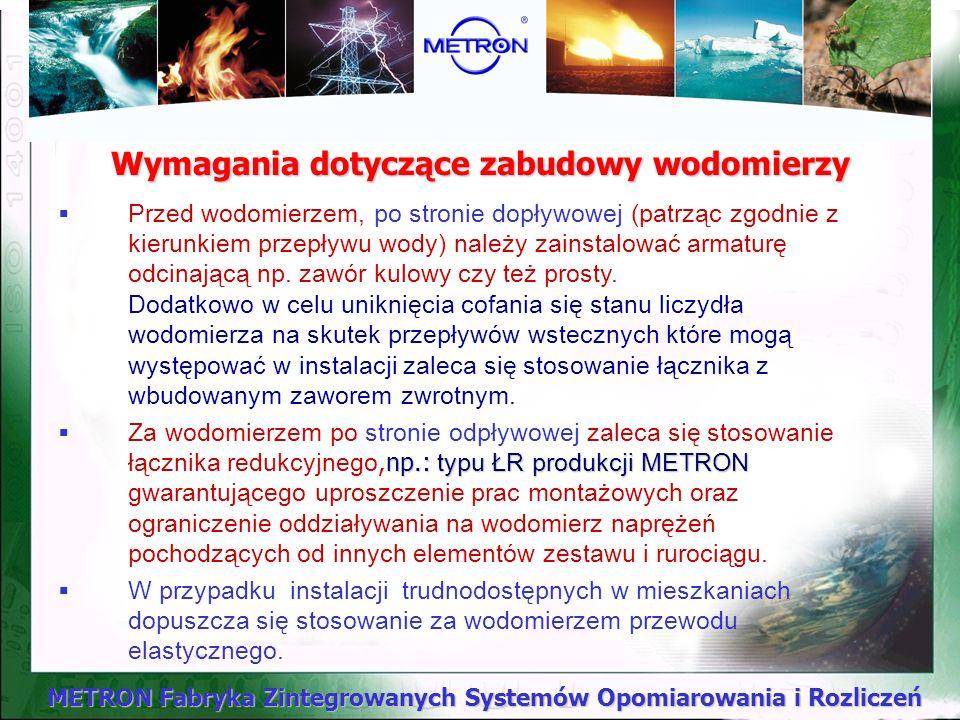 METRON Fabryka Zintegrowanych Systemów Opomiarowania i Rozliczeń Dobór wodomierzy mieszkaniowych Nowe wodomierze mieszkaniowe METRON