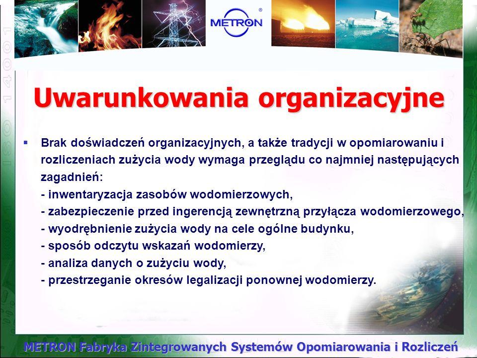 METRON Fabryka Zintegrowanych Systemów Opomiarowania i Rozliczeń Warunki eksploatacji wodomierzy - zalecenia W trakcie użytkowania wodomierza należy d