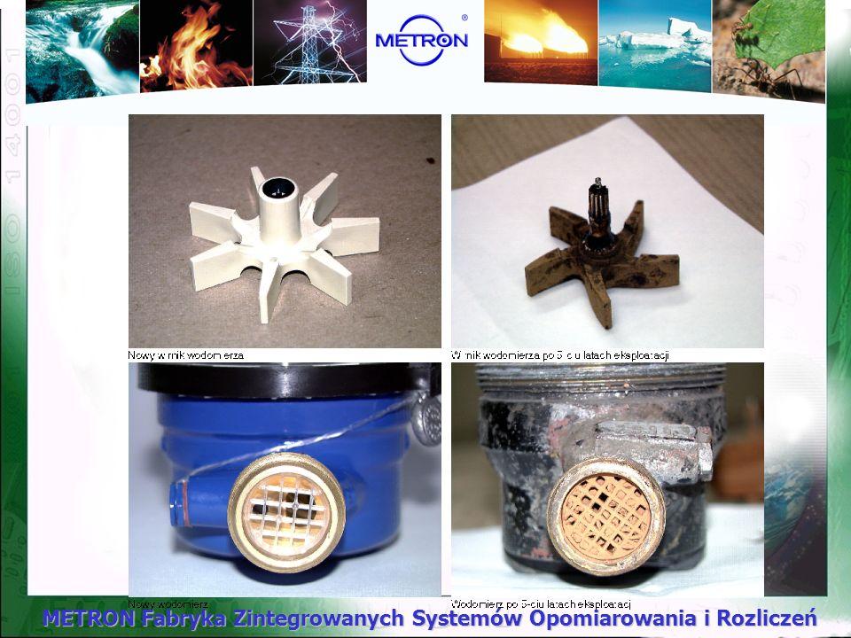 METRON Fabryka Zintegrowanych Systemów Opomiarowania i Rozliczeń Zużycie eksploatacyjne wodomierzy Zawartość niektórych składników takich jak wapno, ż