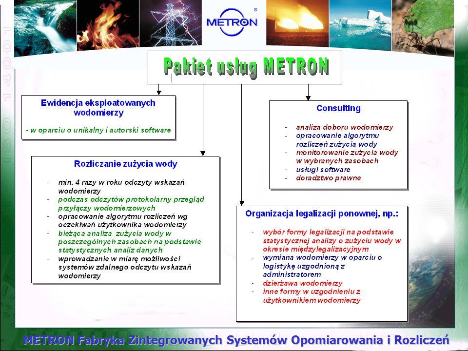 METRON Fabryka Zintegrowanych Systemów Opomiarowania i Rozliczeń Ponadto od 2001r. proponujemy szeroki zakres usług w zakresie gospodarki wodomierzowe