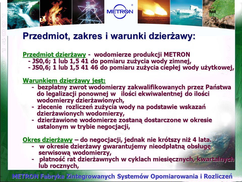 METRON Fabryka Zintegrowanych Systemów Opomiarowania i Rozliczeń Dzierżawy wodomierzy !!!