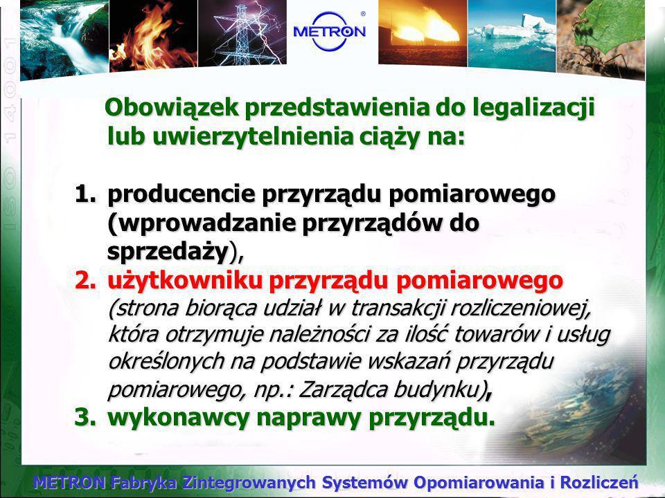 METRON Fabryka Zintegrowanych Systemów Opomiarowania i Rozliczeń W świetle ww. Zarządzenia (z późniejszymi zmianami) do grupy przyrządów pomiarowych b