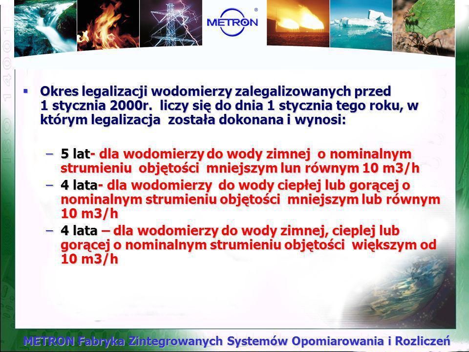METRON Fabryka Zintegrowanych Systemów Opomiarowania i Rozliczeń Określone są w Przepisach Metrologicznych o Licznikach Do Wody (Wodomierzach) będącyc