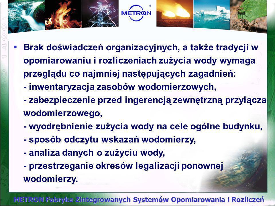 METRON Fabryka Zintegrowanych Systemów Opomiarowania i Rozliczeń Uwarunkowania organizacyjne